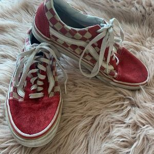 Vans red checkered suede women's size 8